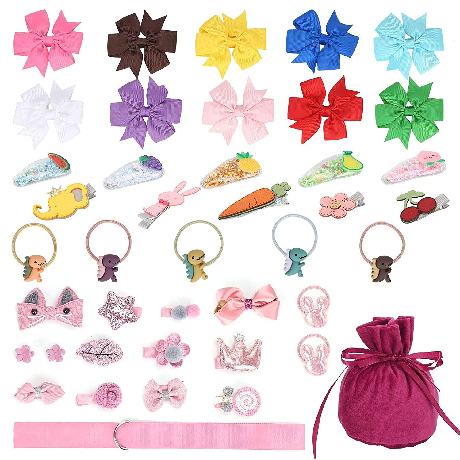 42PCS Hair Clips for Baby Girls Hair Accessories Set for Toddlers Kids Hair Bows Barrettes Hair Elastics Ties with Velvet Gift Bag