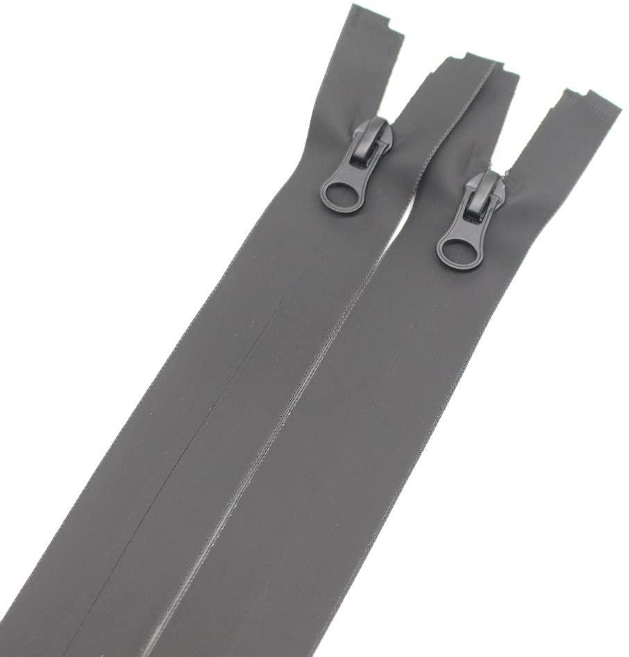 Meillia 2PCS 26 Inch Waterproof Zippers Black #5 Separating Waterproof Zippers Bulk for Sewing Tailor Crafts Clothes Jackets Down Coats Raincoats (26 2pcs)