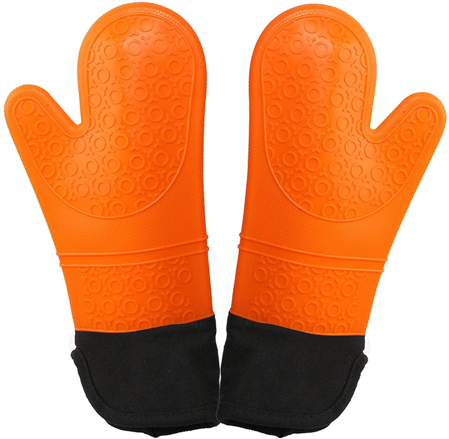 SunnyHome Hot Pads and Oven Mitts Sets, 14.7 Inch Professional Oven Gloves Heat Resistant 500 Degrees, 100% Pure Cotton Lining Flexible Oven Gloves, Non-Slip Waterproof & Easy to Clean (Orange)