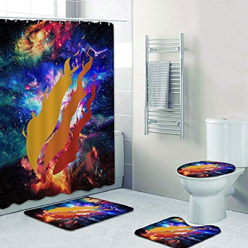 AIXIULEIDUN 4 Piece Preston Fire Style Playz Bath Set Shower Curtain Set with Non-Slip Rug, Toilet Lid Cover, Bath Mat and 12 Hooks, Waterproof Shower Curtain Set for Bathroom