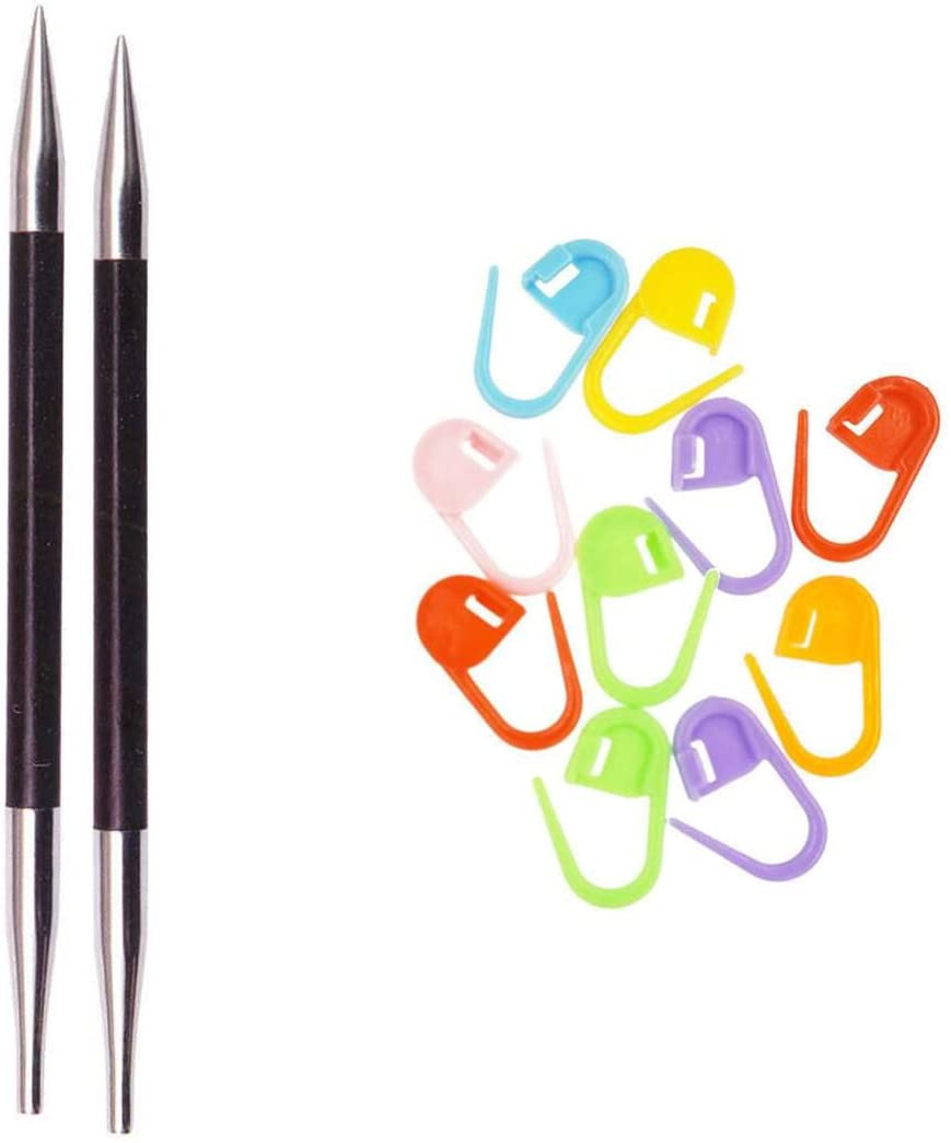 Knitter's Pride Knitting Needles Karbonz Interchangeable 4.5 inch (11.5cm) Long Tip Size 11 (8.0mm) Bundle with 10 Artsiga Crafts Stitch Markers 110312