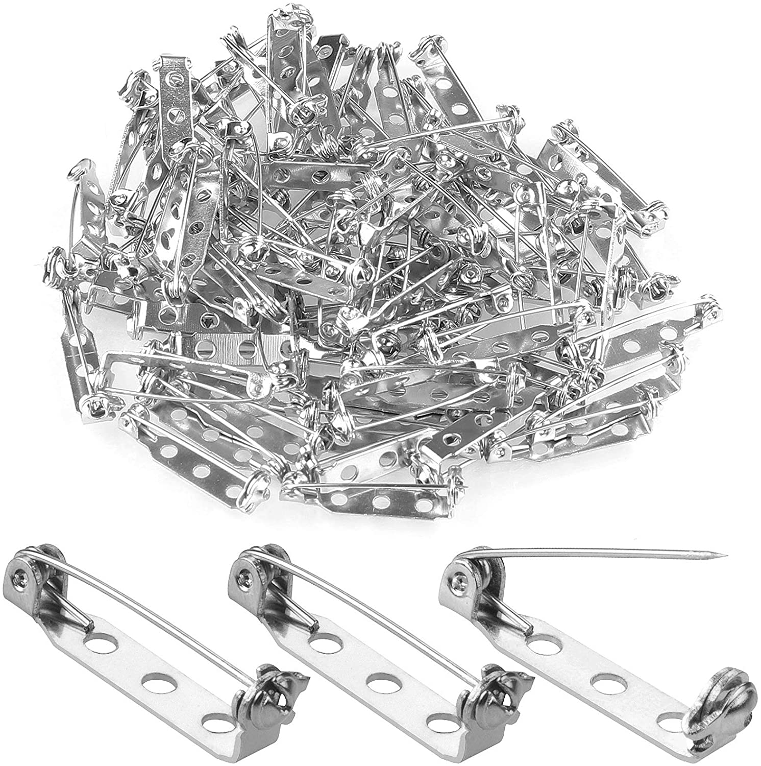 100 Pcs Silver Tone Pin 1 Inch Pins Findings Backs Back Clasp Brooch Bar Safety Pin with 3 Holes Safety Locking for Making Corsage, Name Tags, Badges, Citation Bars, Jewelry Making by AConnet
