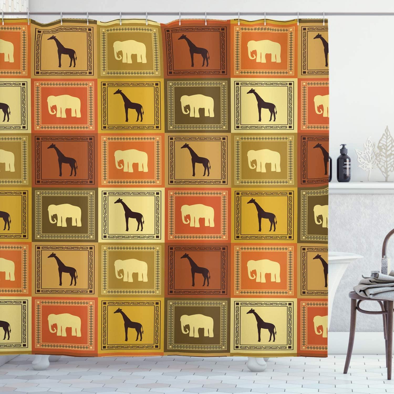 Ambesonne Safari Shower Curtain, Animals Pattern Silhouette Exotic Fauna Frame Vintage Illustration, Cloth Fabric Bathroom Decor Set with Hooks, 70