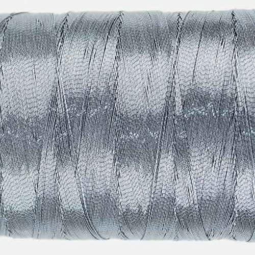WonderFil Specialty Threads Spotlite, 1000m, Steel Blue. 40wt rayon core metallic thread