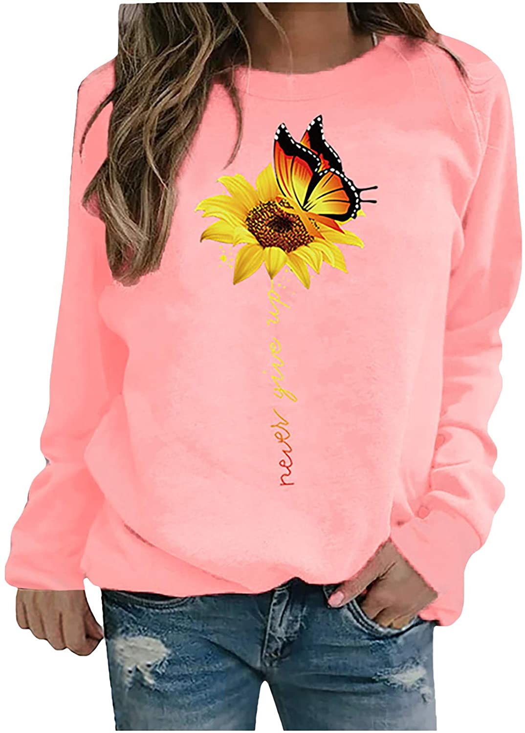 Womens Sunflower Butterfly Print Casual Long Sleeve Round Neck Soft Sweatshirts Tops Blouse Sweater