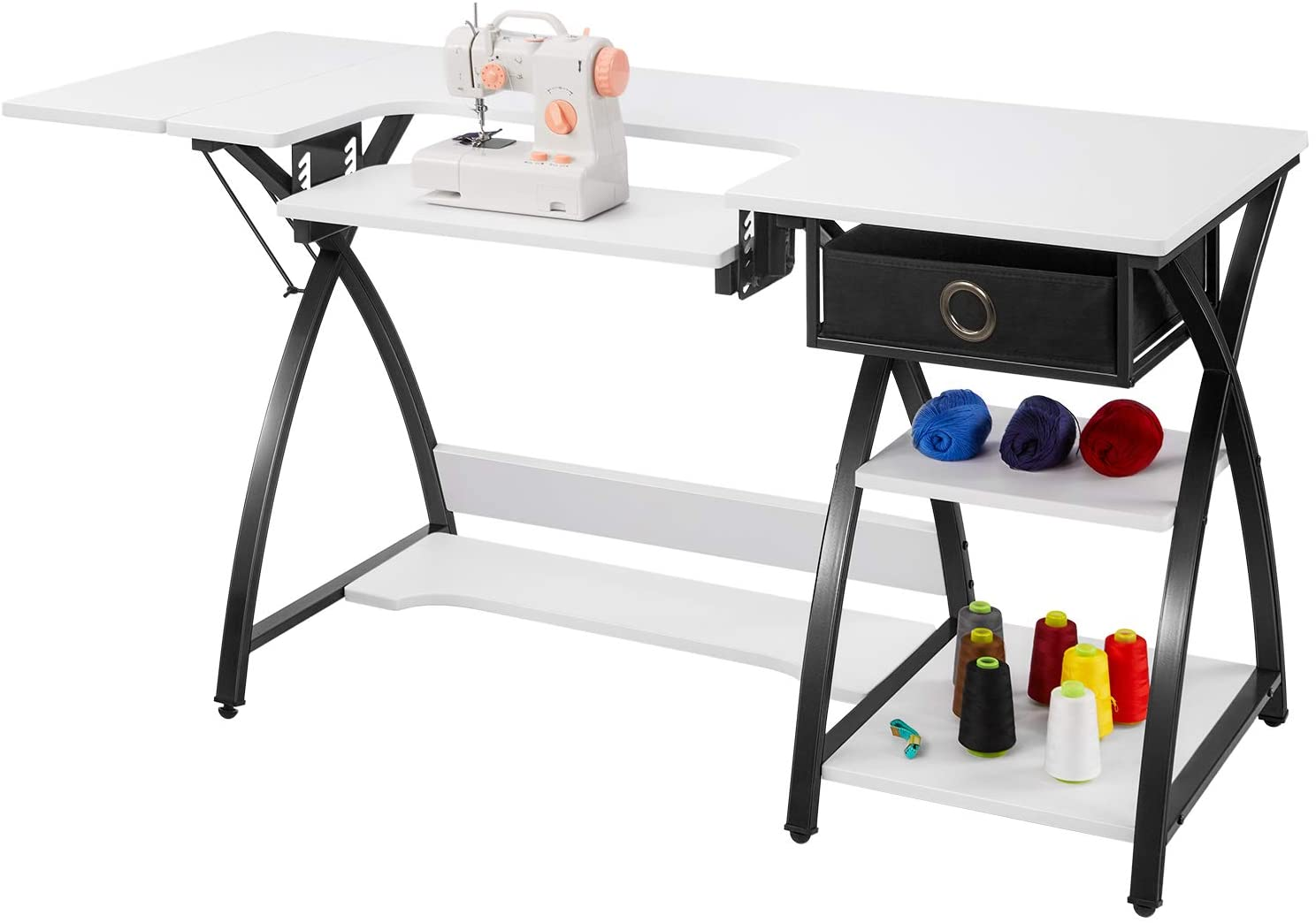 Sewing Table Adjustable Sewing Craft Table with Drawer and Shelves, X-Cross Sturdy Sewing Desk Multipurpose Computer Desk, 57.1×23.6×29.9 inches White
