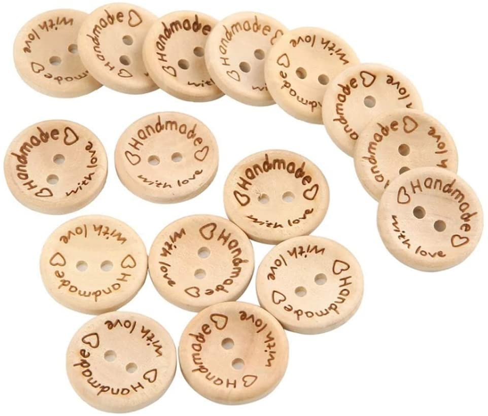 100PCS 2 Holes Round Wooden Buttons- Handmade with Love Tag Lable Craft Sewing Buttons for Clothing Sewing Scrapbooking Crafting DIY Decoration Embelishment(White)