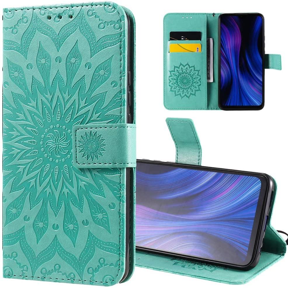 ISADENSER LG K51 Flip Case LG K51 Wallet Case LG K51 Case Sunflower Totem [Business Embossing] [Kickstand Flip] [Card Slot] [Magnetic Clasp] Flip Cover Phone Case for LG K51 Green Sunflower KT
