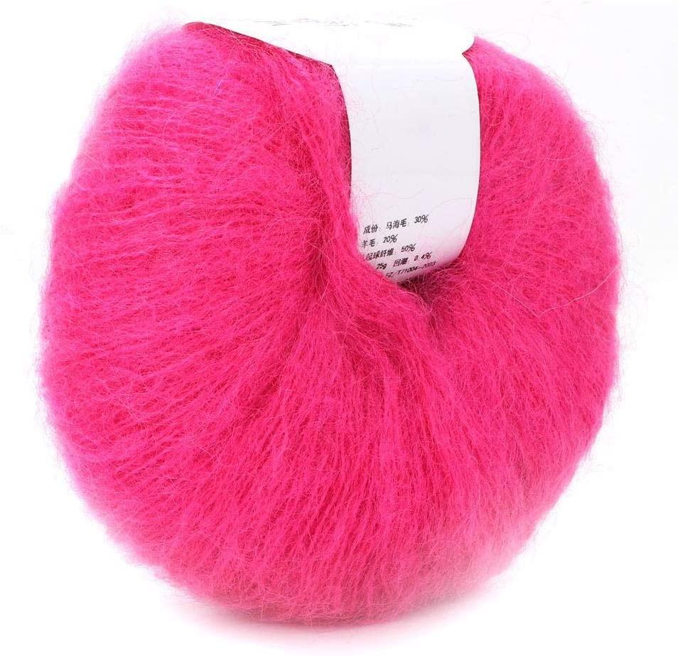 Wool Yarn for Knitting Soft Mohair Knit Angora Long Wool Yarn DIY Scarf Crochet Thread Supplies (with a Crochet)(Peach Pink)