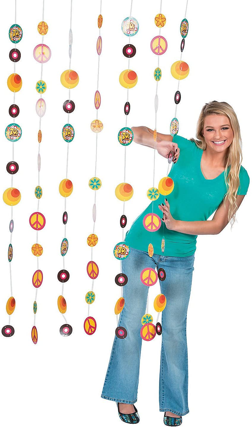 Fun Express - 70's Party Door Curtain for Party - Party Decor - Door Decor - Door Borders & Curtains - Party - 1 Piece