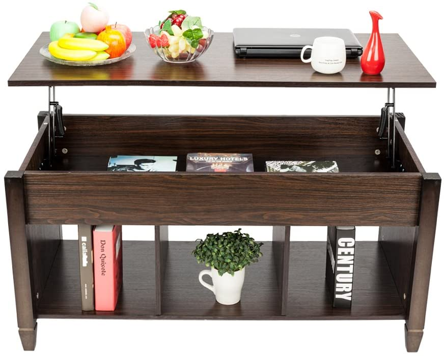 Lift Top Coffee Table with Hidden Storage Compartment & Shelf, Wooden Modern Multifunctional Coffee Dining Table for Living Room, Décor, Display, 19.2-24.6in H (Brown)