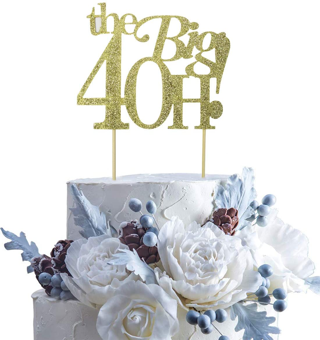 Guoguoxia Gold Glitter The Big 40H Cake Topper 40 & Fabulous Cake Topper - 40th Birthday Party Decoration Sign - Adult Birthday Party Supplies
