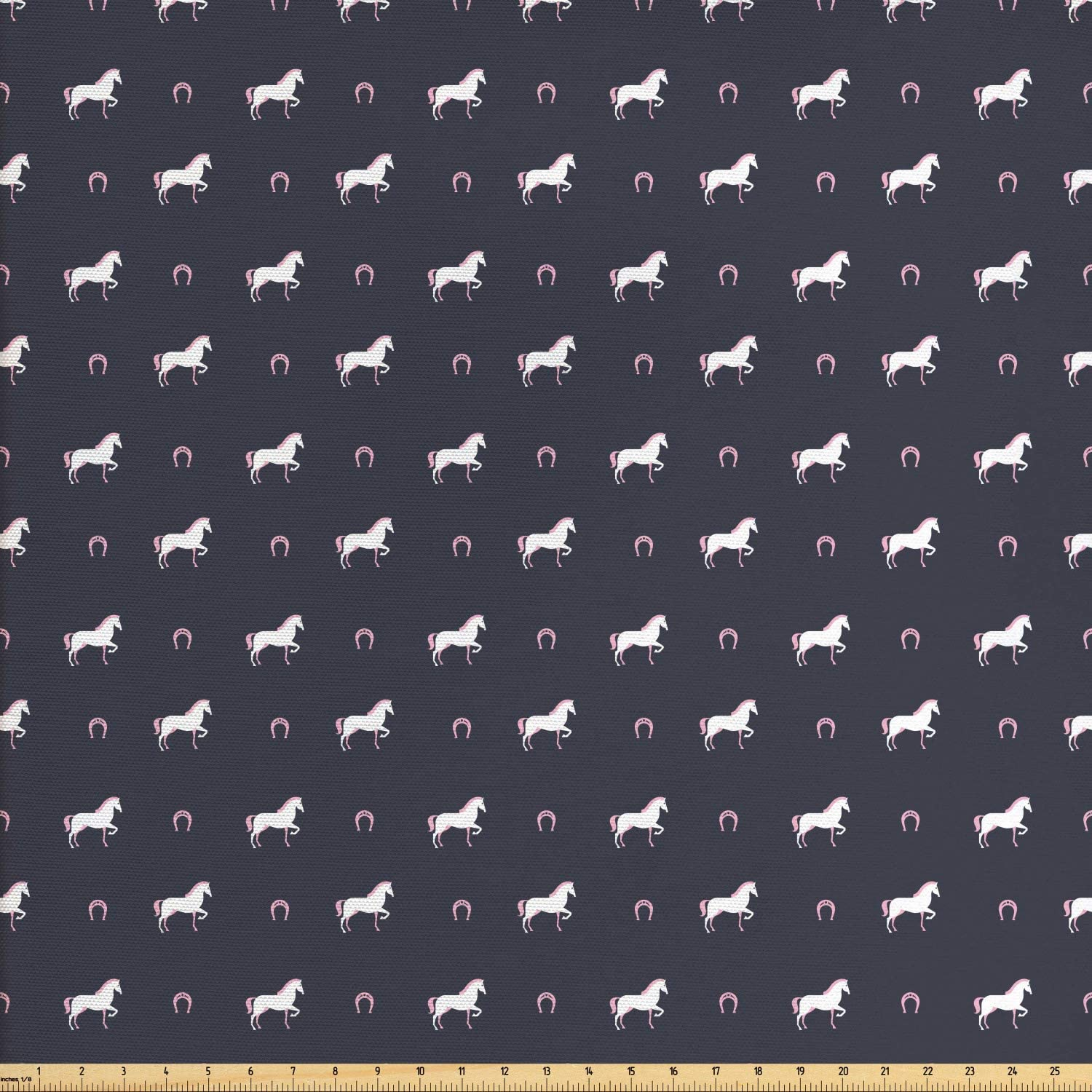 Ambesonne Horses Fabric by The Yard, Animal Pattern Sublime Mustang Silhouette Wildlife Horseshoe Abstract, Decorative Fabric for Upholstery and Home Accents, 3 Yards, Purple Grey