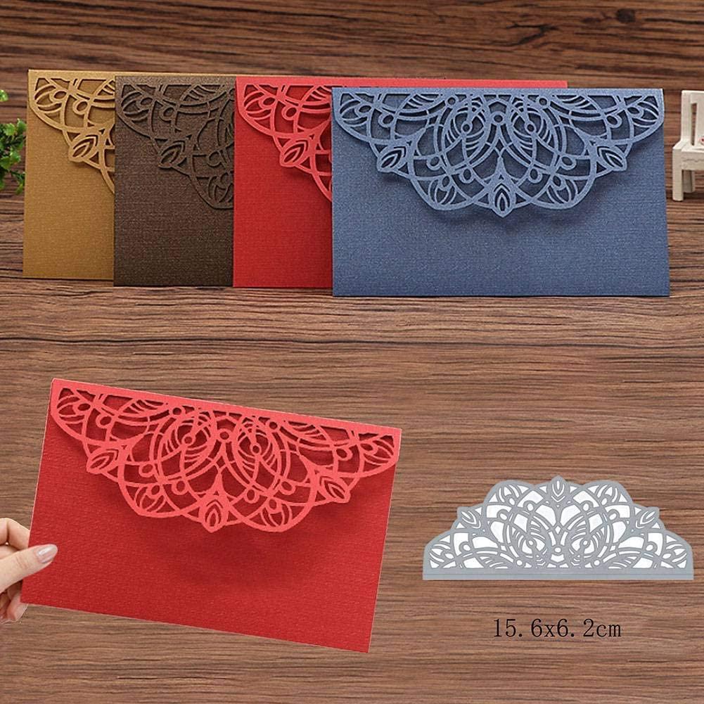 i7kbgshj Cutting Die Rose Flower Edge Frame Metal Cutting Dies Stencil Metal Die Cutting Template Handmade Stencils Template Embossing Die for DIY Invitation Scrapbooking Card(#1)