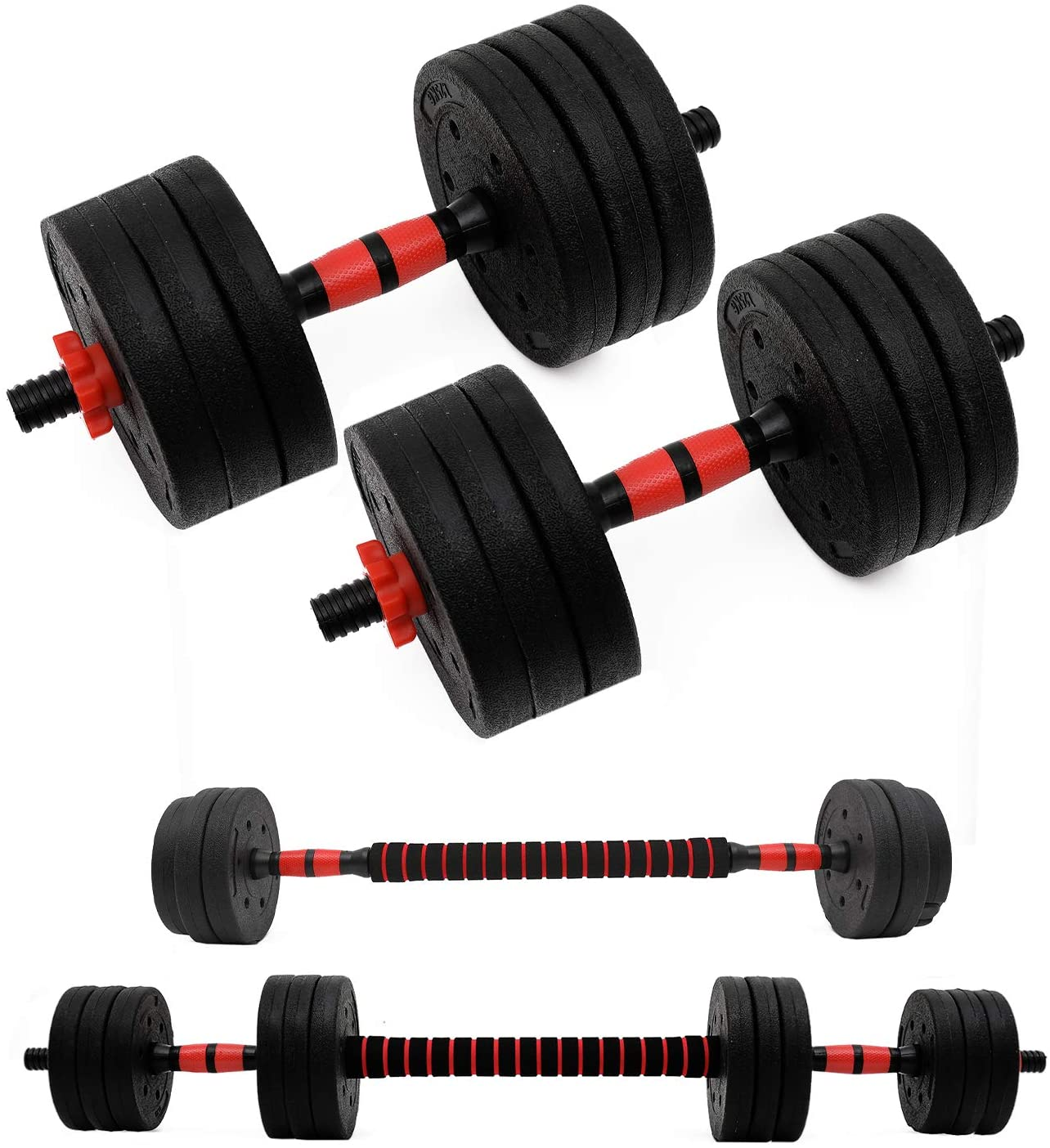U/N Adjustable Fitness Dumbbells Set, 2 in 1 Dumbbell Pair Set with Connecting Rod Used As Barbell for Gym Work Out,Home Fitness Equipment for Men and Women 2 Pieces/Set