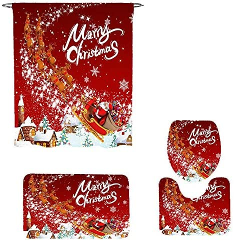 Ikfashoni 4 Pcs Merry Christmas Shower Curtains Set with Non-Slip Rugs, Toilet Lid Cover and Bath Mat, Xmas Snowflake Shower Curtain with 12 Hooks, Santa Claus Reindeer Shower Curtain for Bathroom