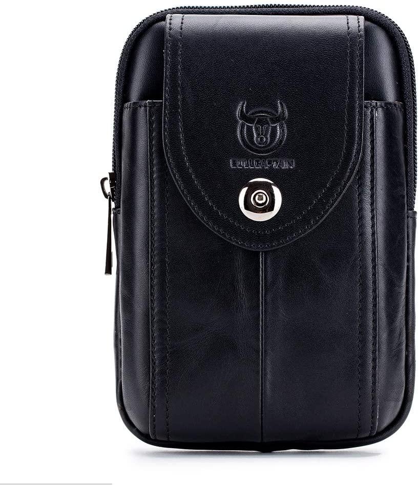 X-xyA Mens Waist Bag, Genuine Leather Hook Belt Bags Multi-Function Fanny Pack Cigarette Phone Case Pouch Hip Bum Pack,Black07