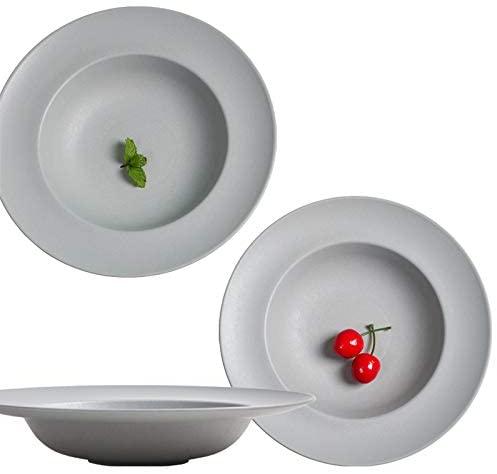 Greenandlife Wheat Straw Plastic Round Dessert Salad Plates - 9.2/6.1 Inch - Set of 4, Lightweight & Unbreakable (gray)