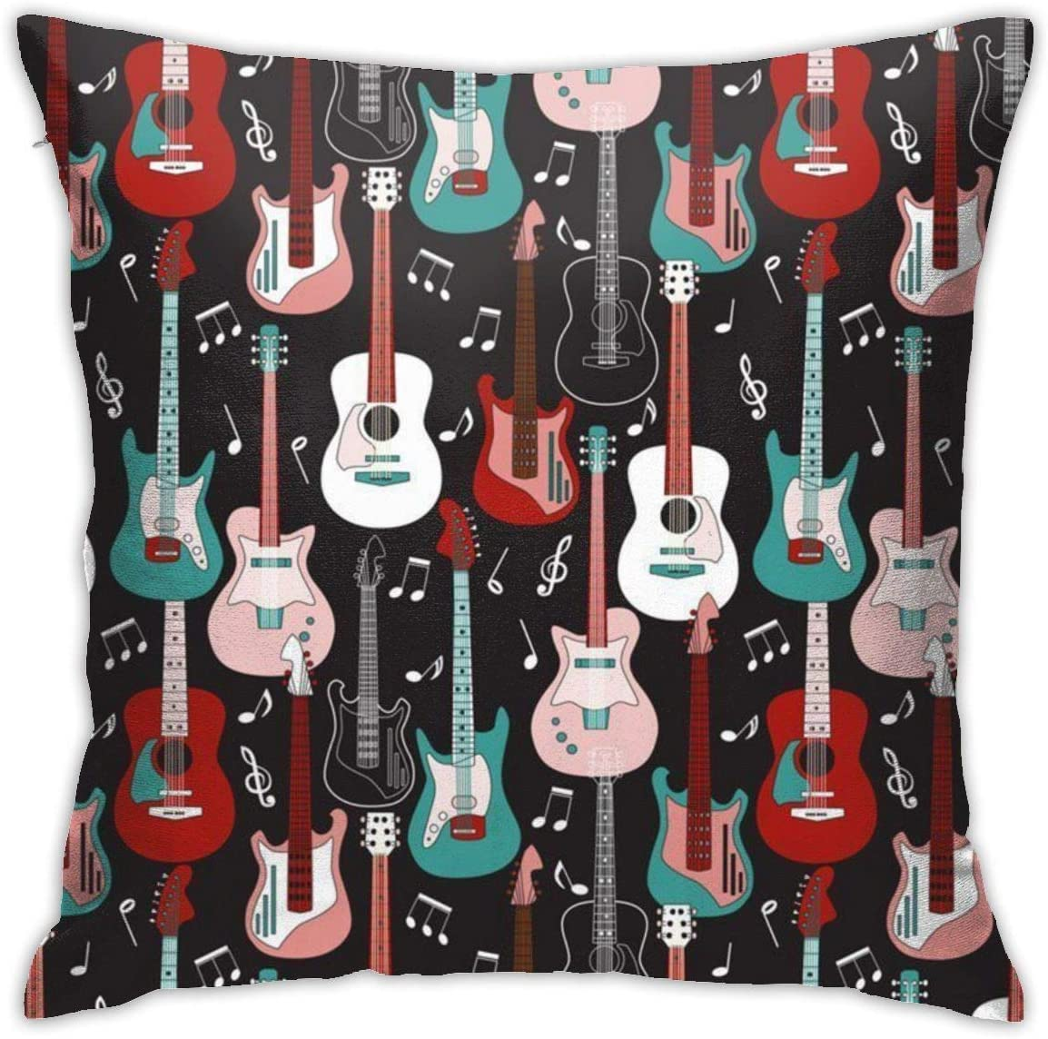 NiYoung Pillow Covers Pillowcase Decorative Soft Square Pillow Decorative Cushion Cover Pillow Cover for Sofa Couch Bed Chair, 18x18 inch (Rock and Roll Guitars)