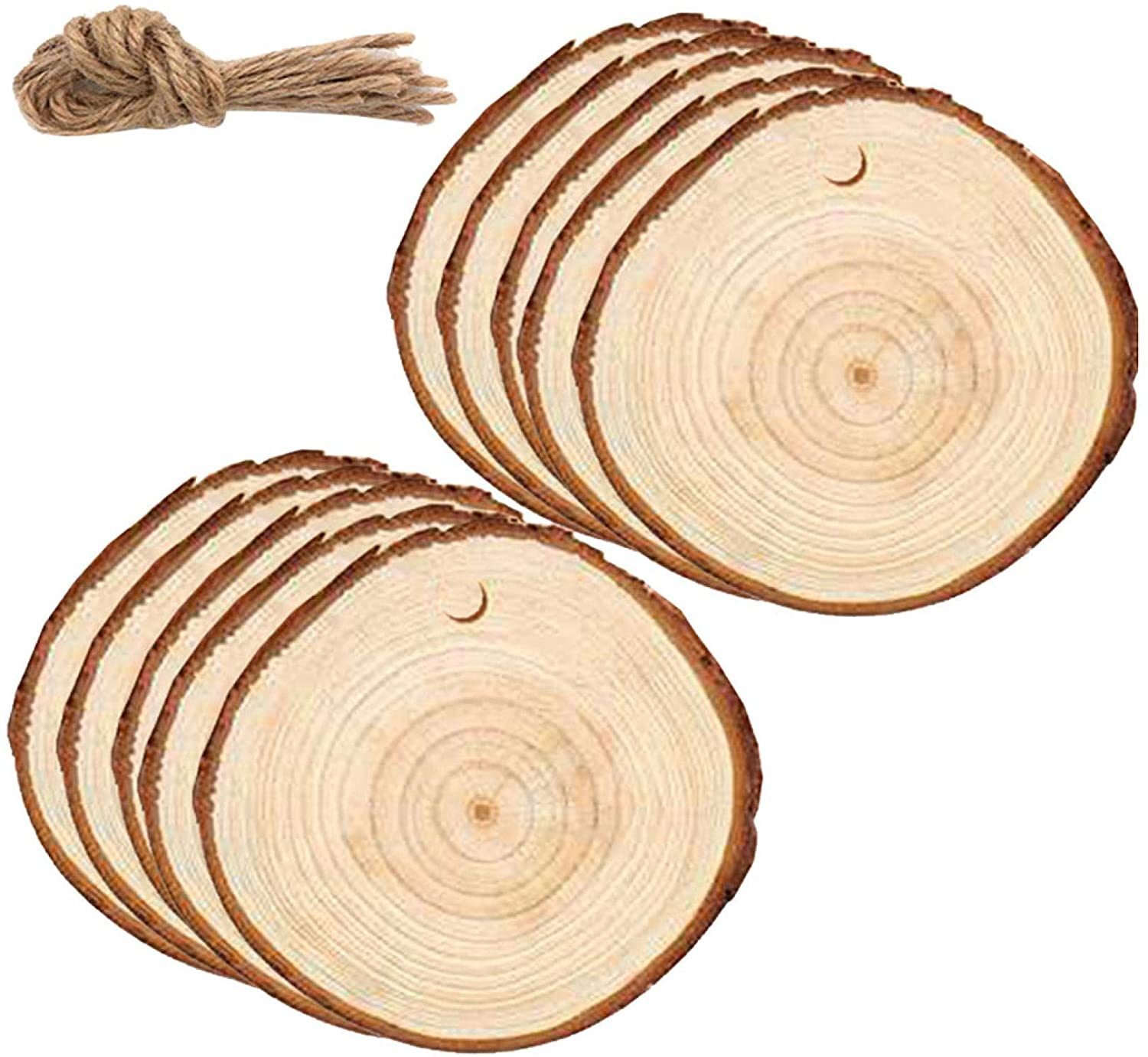 Natural Wood Slices 2.4-2.8 Inches Craft Wood Kit Unfinished Predrilled with Hole Wooden Circles Tree Slices for Arts and Crafts Christmas Ornaments DIY Crafts (30 Pack)
