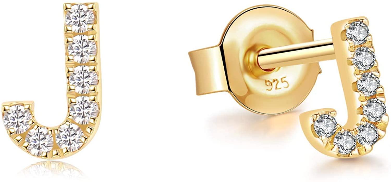 Jewlpire 925 Sterling Silver Stud Earrings for Women Girl Hypoallergenic Fashion Alphabet Letter Initial Earrings Cubic Zirconia Earrings Simulated Diamond Personalized Gift
