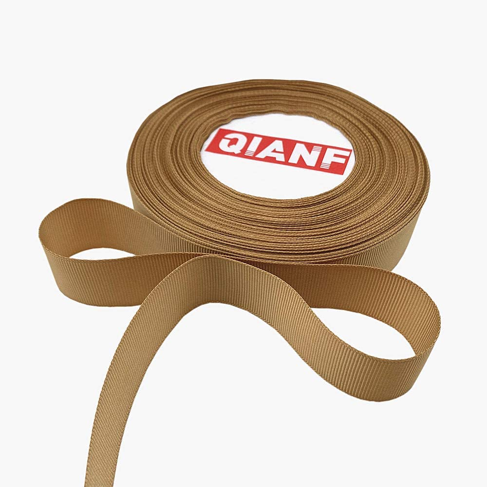 QIANF High Density Double Face Solid Grosgrain Ribbon Roll, 1-Inch by 25-Yard, Gold