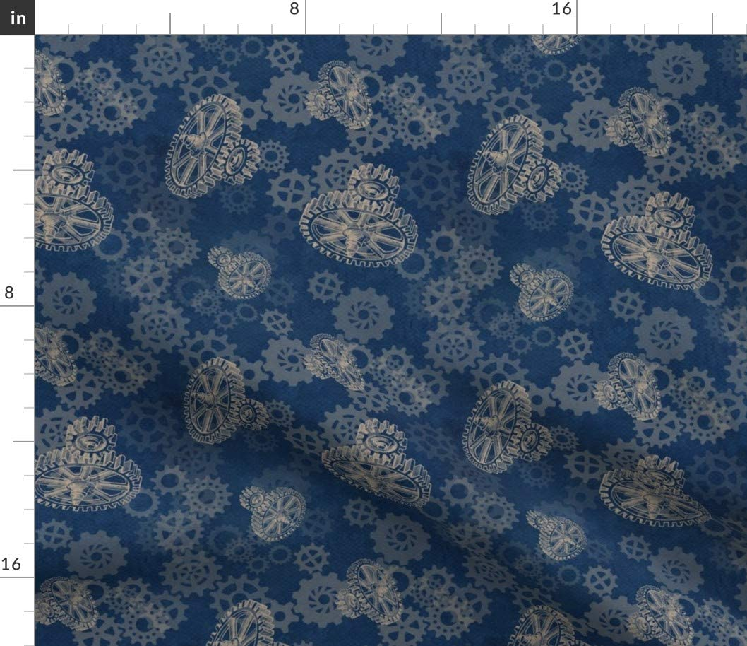 Spoonflower Fabric - Blue Gears Steampunk Cog Wheel Printed on Petal Signature Cotton Fabric by The Yard - Sewing Quilting Apparel Crafts Decor