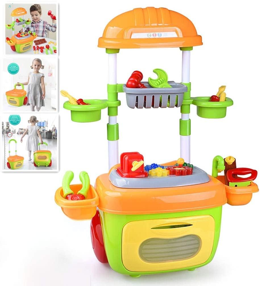 Erwazi Kids Tool Set Kids Tool Box Pretend Toys, 2-in-1 Kids Tool Kit Workbench Set/Travel Suitcase, Pretend Play for Children Kids Toddlers (Multicolor)