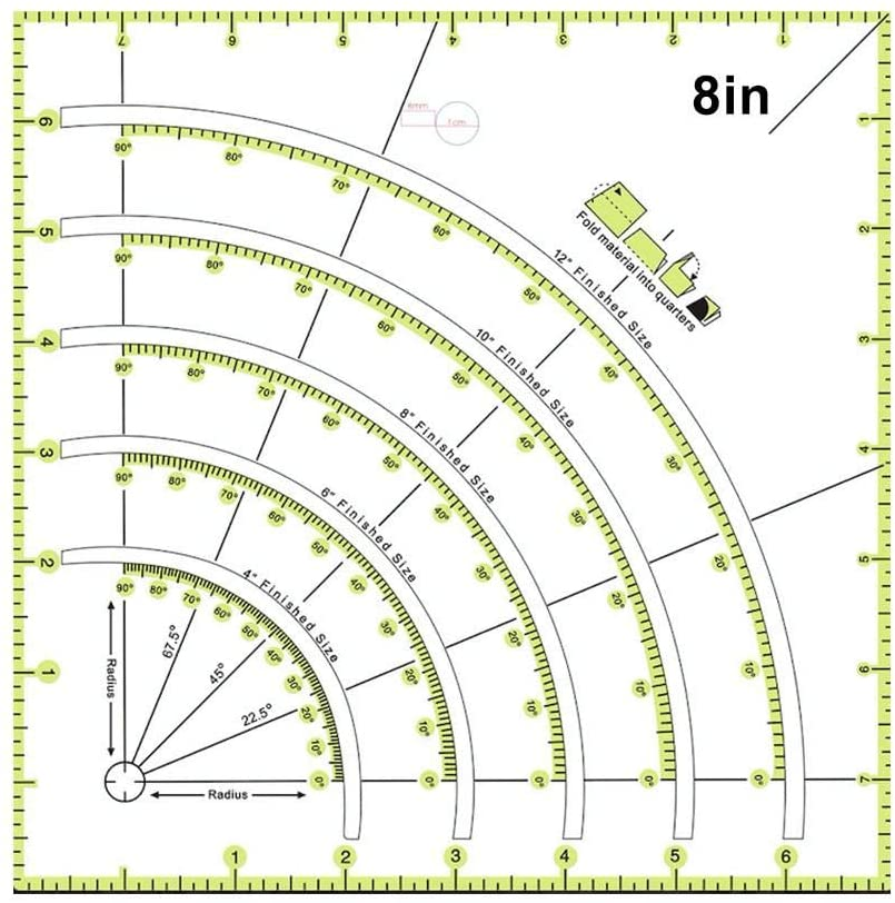 N/M Acrylic Quilting Ruler, 8-inch Transparentes Universal Patchwork Ruler, Sewing Ruler for Fabric Easy Precision Cutting