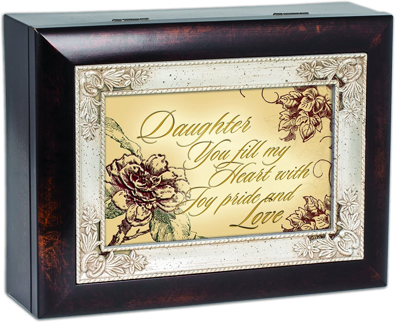 Cottage Garden Daughter You Fill My Heart with Joy Burlwood Jewelry Music Box Plays Amazing Grace
