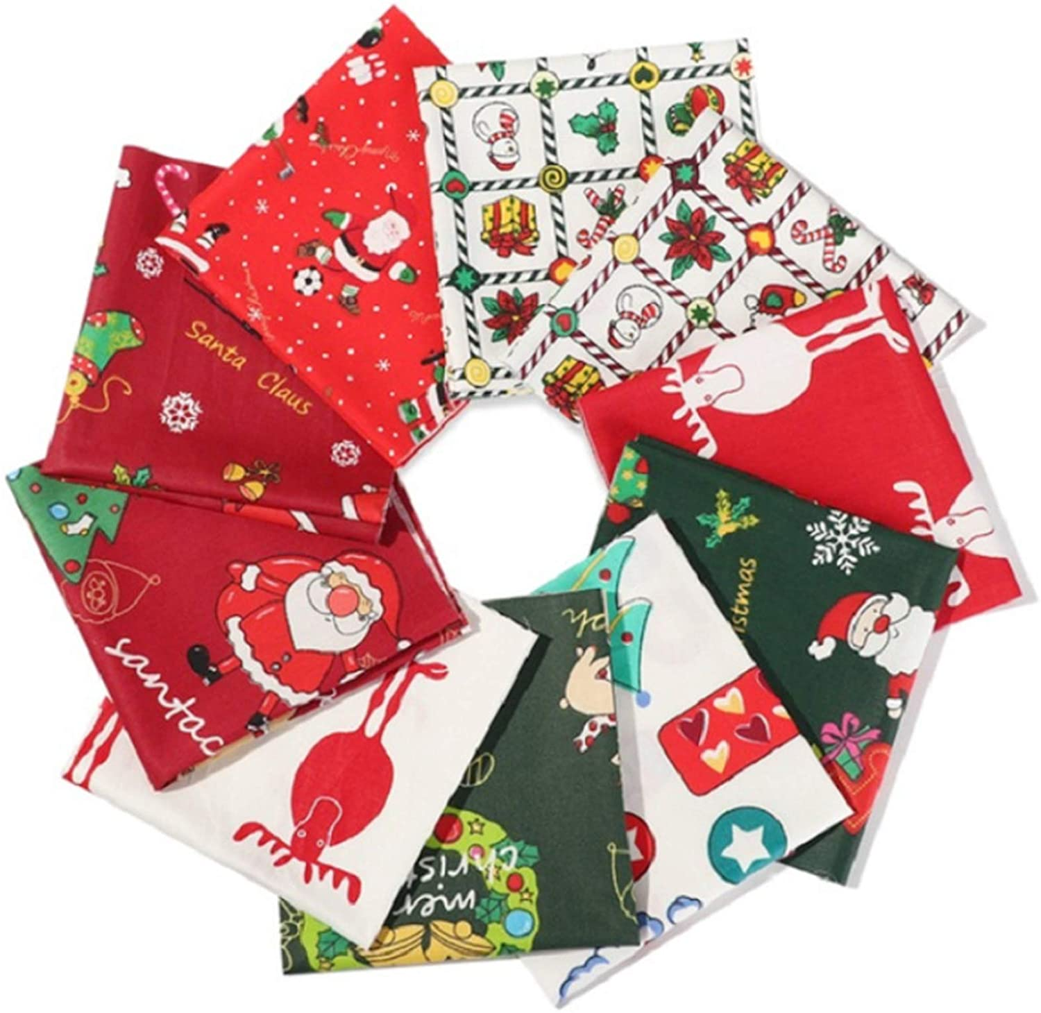 10 Pieces Christmas Fabric,Multicolor Christmas Cotton Fabric Christmas Fabric Squares for DIY Christmas Party Supplies 10x10 Inch
