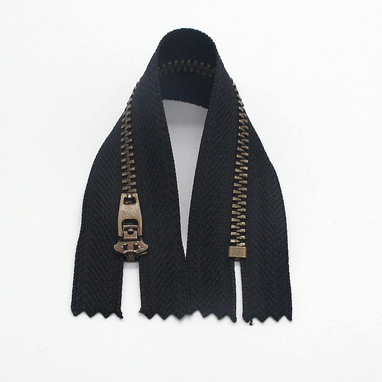 5# Metal Zipper for Jeans Antique Brass Y-Teeth Zipper 6 inch Close End Jeans Zippers 6pcs,(Black-Brass)