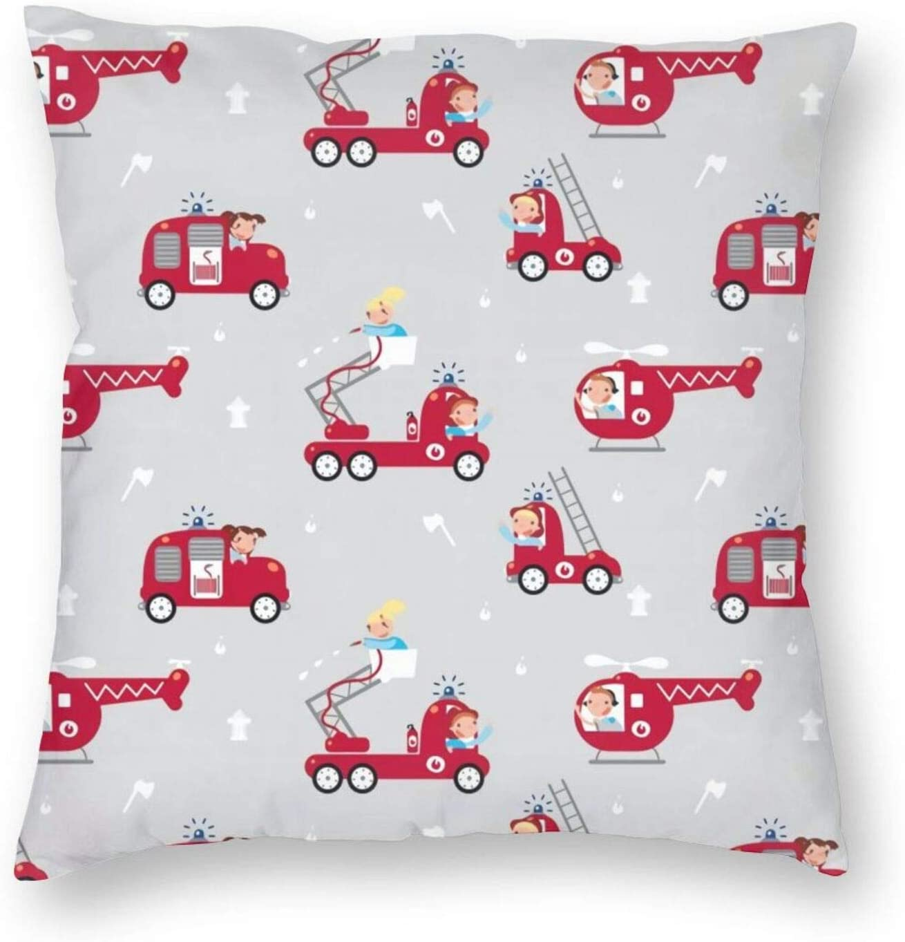 Firemen, On The Roll! (Trucks) Pillow Covers Decorative Couch Pillow Cases Pillow Square Cushion Cover for Sofa, Couch, Bed and Car