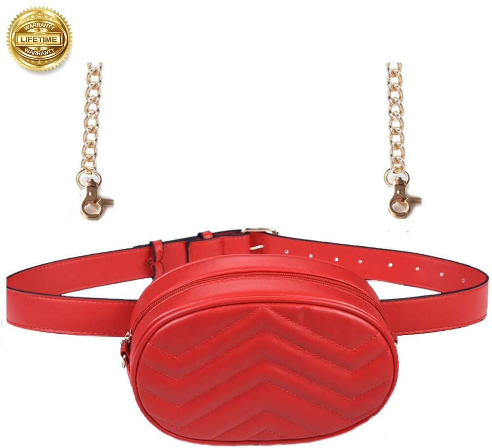 Women Waist Bags Fashion Fanny Pack PU Leather Round Belt Bag Purse Crossbody Bumbag for Party Travel Hiking(Women Waist Pack for Red)
