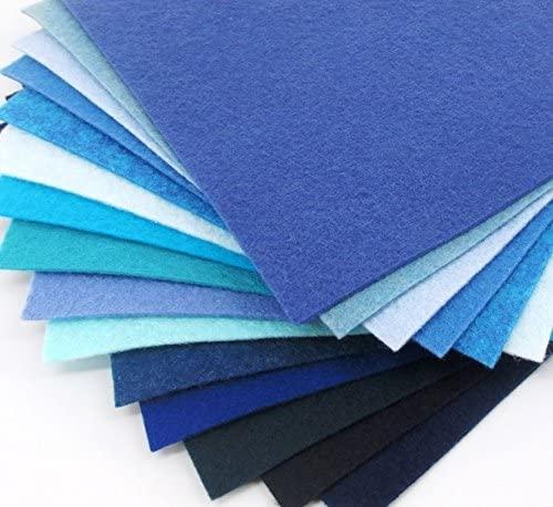 15 Blues 9X12 inch Merino Wool Blend Felt Sheets Collection - OTR felt
