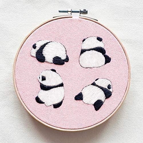 Embroidery Kit Panda Stamped DIY Hand Embroidery Art kit for Beginners,Cotton Fabric with Pattern, Color Threads,and Needles Bamboo Embroidery Hoop(Pink)