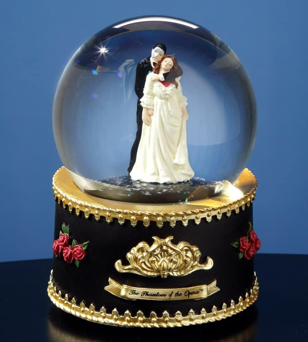 The San Francisco Music Box Company Phantom and Christine Rotating Water Globe