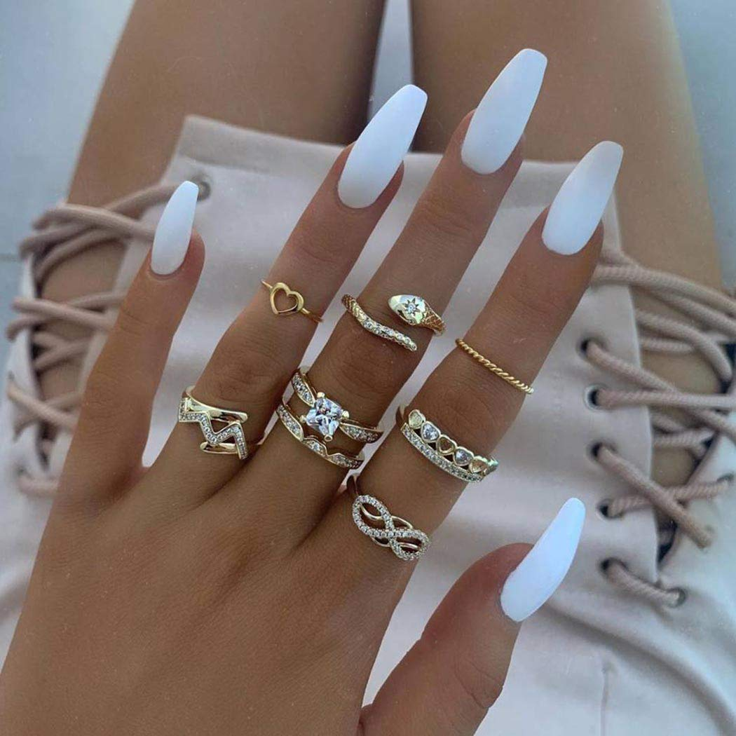 Sakytal Boho Ring Set Gold Crystal Joint Knuckle Rings Evil Eyes Mid Stackable Snake Multi Size Ring for Women and Girls(8Pcs)