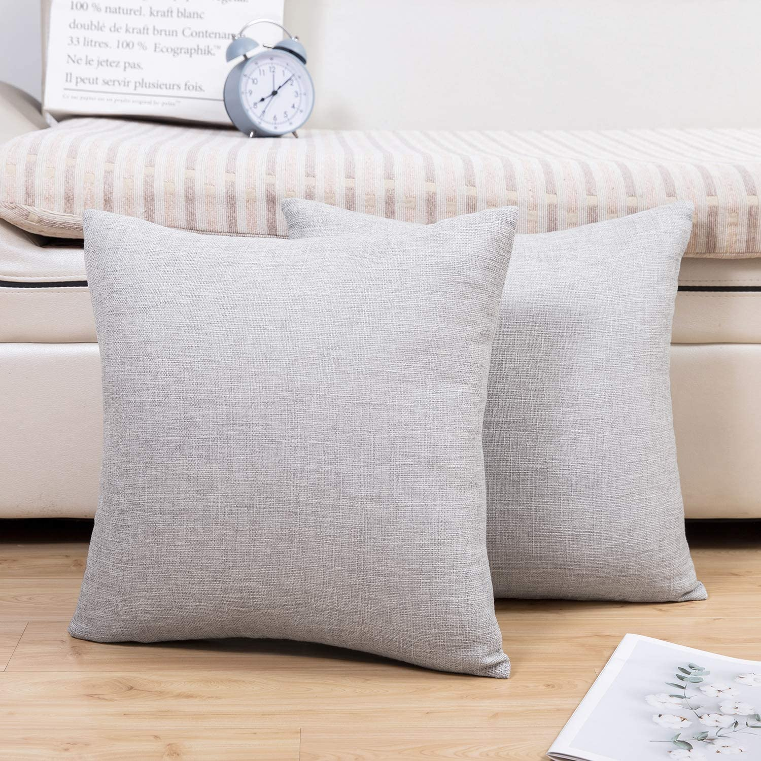 Jepeak Comfy Throw Pillow Covers Cushion Cases Pack of 2 Cotton Linen Farmhouse Modern Decorative Solid Square Pillow Cases for Couch Sofa Bed (Light Grey, 22 x 22 Inches)