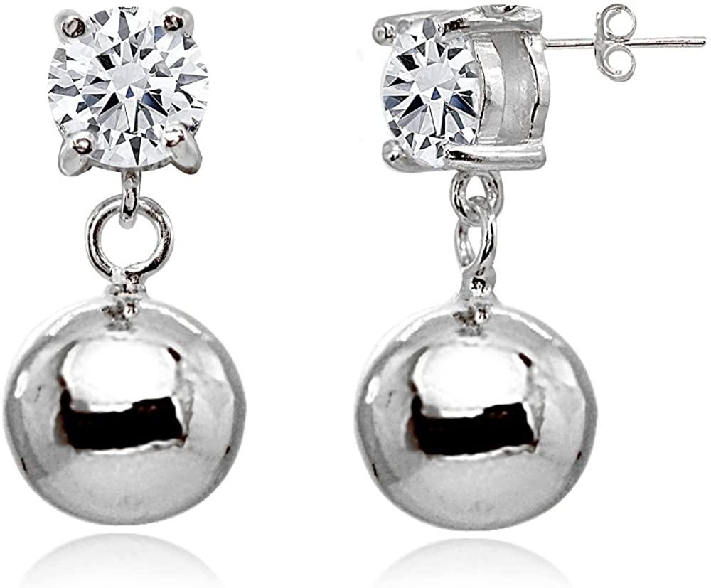 Sterling Silver Cubic Zirconia 6mm Dangling Round Bead Stud Earrings