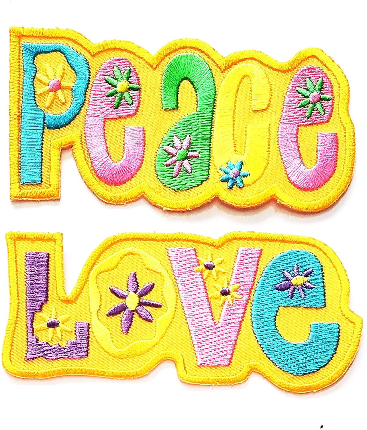 Nipitshop Patches Set 2 Pcs Application Peace Sign Sun Flowers Yellow Love, Peace Sign Hippie Boho Retro Flower Power Summer of Love Hippy Applique Iron-on Patch