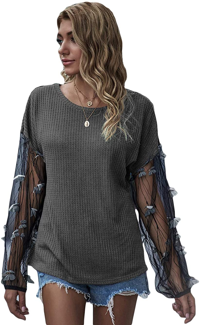 Fashring Women's Long Sleeve Round Neck Colorblock Contrast Mesh Butterfly Applique Casual Surplice Blouses Pullovers