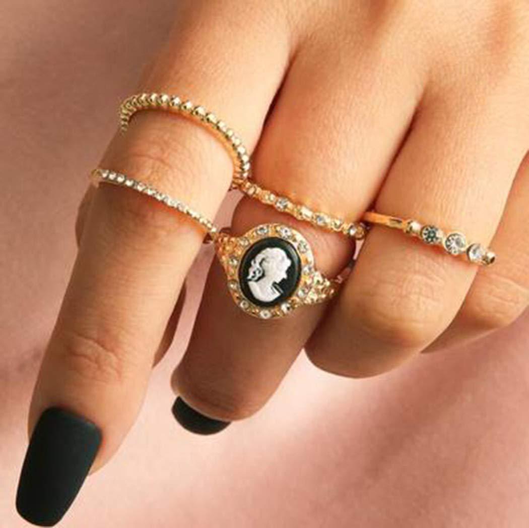 Fdesigner Boho Gold Joint Knuckle Rings Stackable Rings Set Mid Finger Rings for Women and Girls (5PCS)