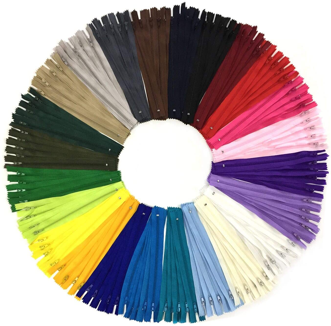 Wartoon 120pcs 23cm/9 Inch Multicolor Nylon Coil Zippers for Sewing and Crafts 24 Colors