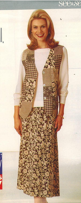 4620 Uncut Butterick Misses Sewing Pattern Vest Top Skirt Size XS S M