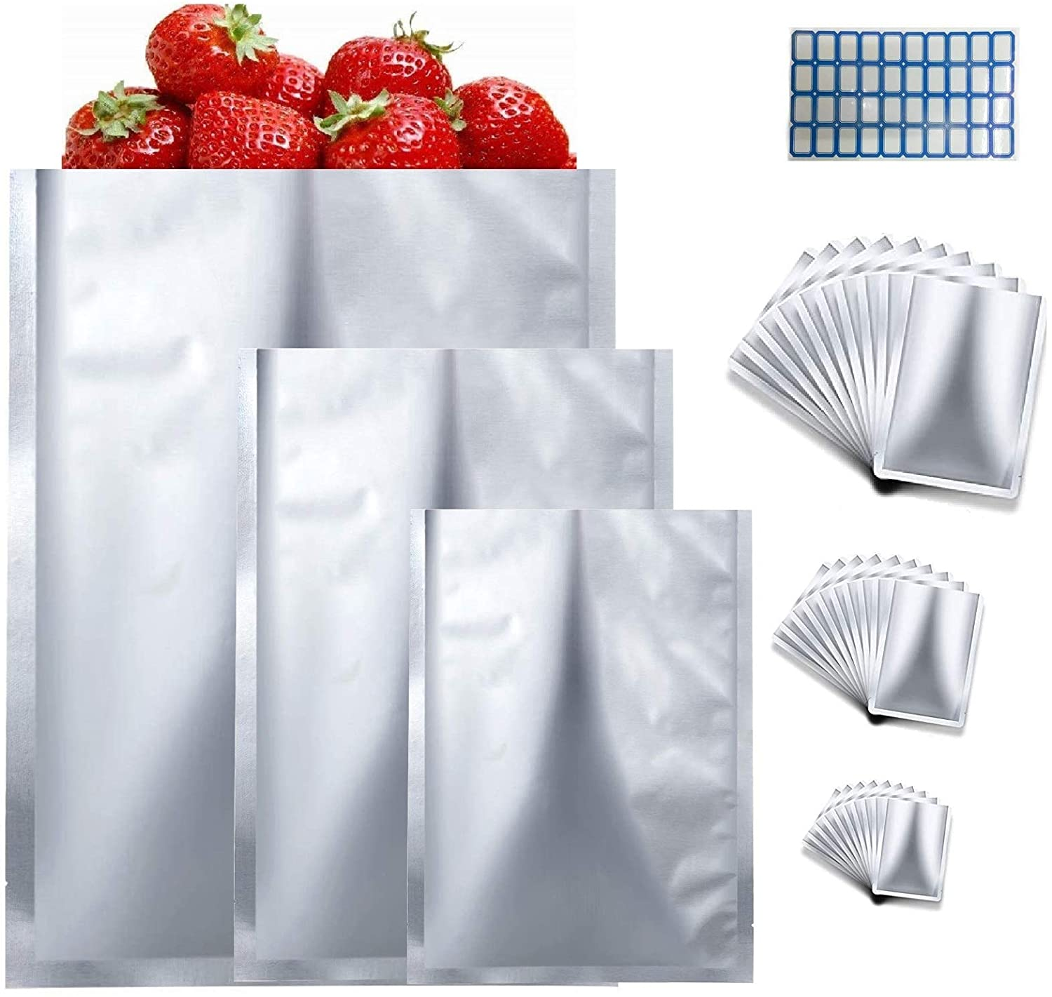 Mylar Aluminum Foil Bags-30 Pieces 3 Sizes Metallic Premium Mylar Foil Flat Heat Sealing Bags Storage Bags Pouch for Food Coffee Tea Beans Candy Storage (5 x 7 Inch, 6 x 9 Inch, 8 x 11 Inch)