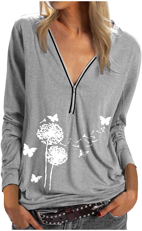 Women Blouse Plus Size Dandelion Zipper Tunic Top Butterfly Print V-Neck Tunic Tops Long Sleeve Shirt