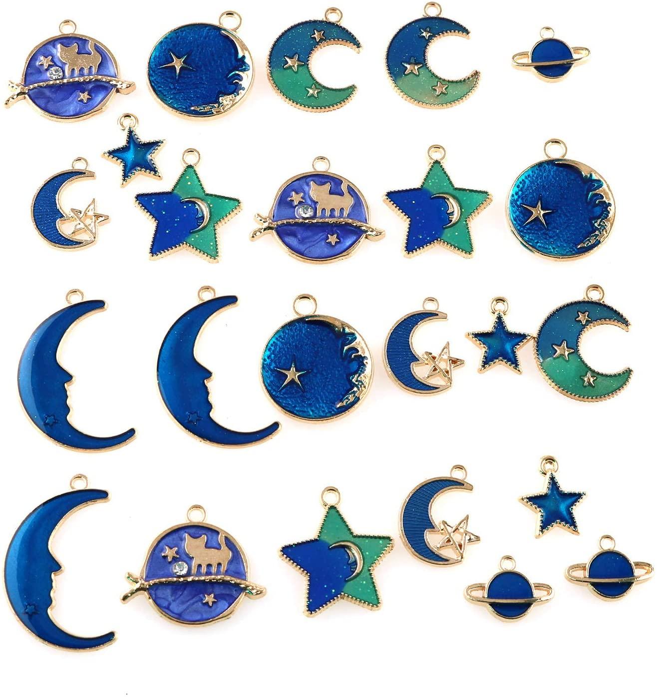 Tegg Enamel Pendant 24PCS 8 Styles Gold Plated Enamel Cat Moon Star Celestial Earth Charm Pendants for DIY Jewelry Making