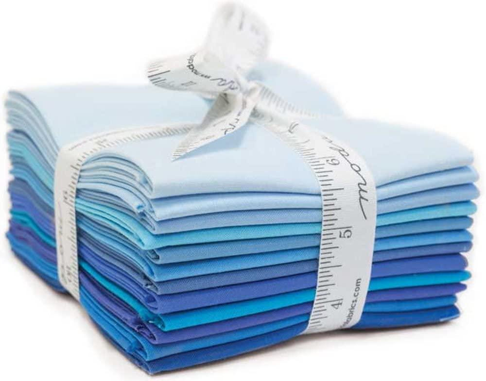 Bella Solids Blues 12 Fat Quarters Moda Fabrics 9900AB 124