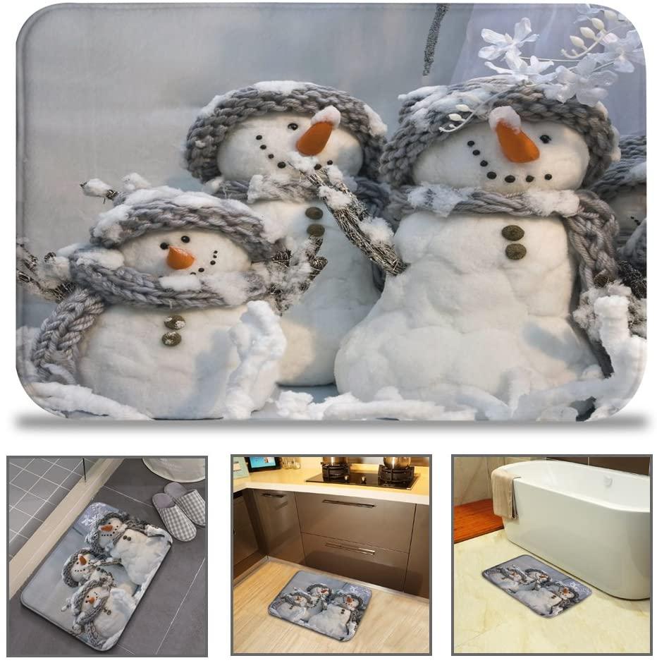 QIYI Christmas Bath Rug Grey Super Soft Non-Slip Mat Machine Washable Quickly Drying Office Floors Mats Kitchen Dining Living Bathroom Bathtub Rugs 16